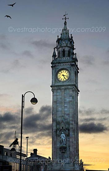 photograph of Albert clock at sunrise